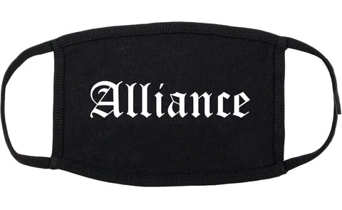 Alliance Ohio OH Old English Cotton Face Mask Black