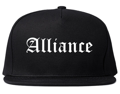 Alliance Ohio OH Old English Mens Snapback Hat Black
