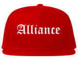 Alliance Ohio OH Old English Mens Snapback Hat Red