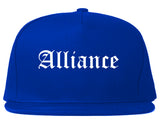 Alliance Ohio OH Old English Mens Snapback Hat Royal Blue