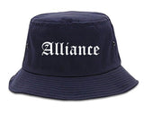 Alliance Ohio OH Old English Mens Bucket Hat Navy Blue
