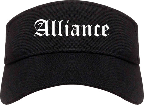 Alliance Ohio OH Old English Mens Visor Cap Hat Black