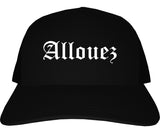 Allouez Wisconsin WI Old English Mens Trucker Hat Cap Black