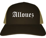Allouez Wisconsin WI Old English Mens Trucker Hat Cap Brown