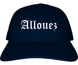 Allouez Wisconsin WI Old English Mens Trucker Hat Cap Navy Blue