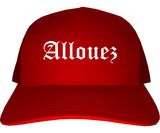 Allouez Wisconsin WI Old English Mens Trucker Hat Cap Red