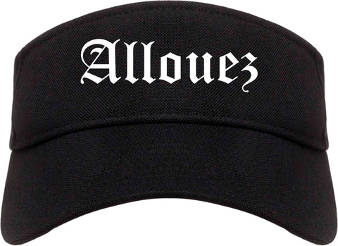 Allouez Wisconsin WI Old English Mens Visor Cap Hat Black