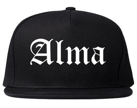 Alma Arkansas AR Old English Mens Snapback Hat Black