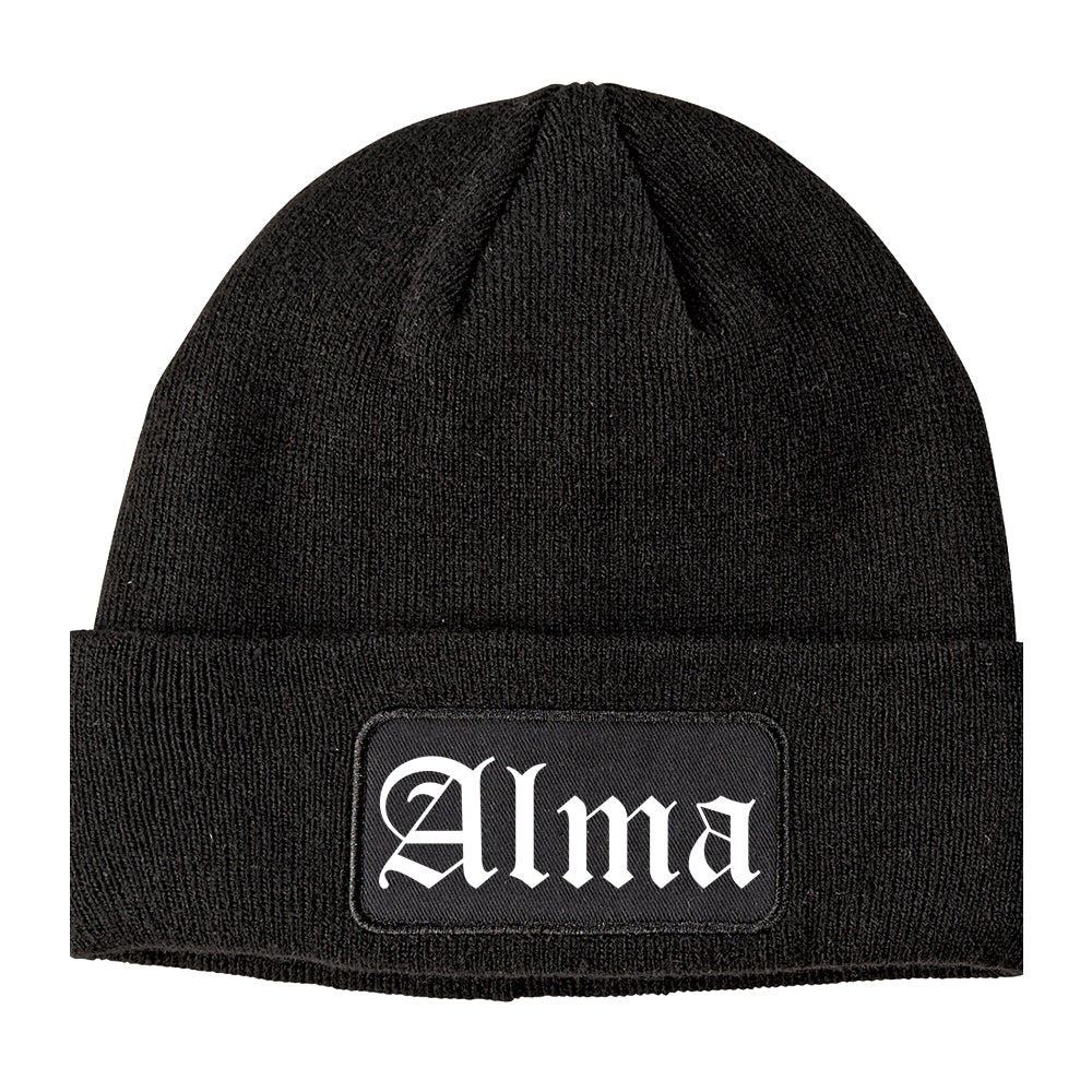 Alma Arkansas AR Old English Mens Knit Beanie Hat Cap Black