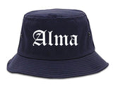 Alma Arkansas AR Old English Mens Bucket Hat Navy Blue
