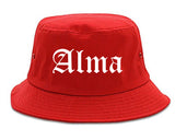 Alma Arkansas AR Old English Mens Bucket Hat Red