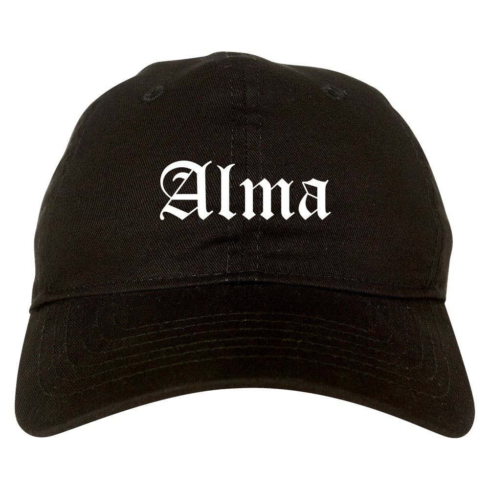 Alma Arkansas AR Old English Mens Dad Hat Baseball Cap Black