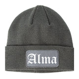 Alma Arkansas AR Old English Mens Knit Beanie Hat Cap Grey