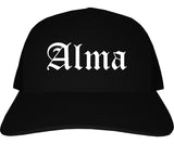 Alma Arkansas AR Old English Mens Trucker Hat Cap Black