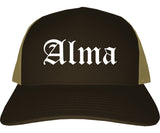 Alma Arkansas AR Old English Mens Trucker Hat Cap Brown
