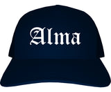 Alma Arkansas AR Old English Mens Trucker Hat Cap Navy Blue