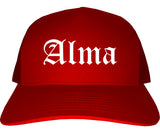 Alma Arkansas AR Old English Mens Trucker Hat Cap Red