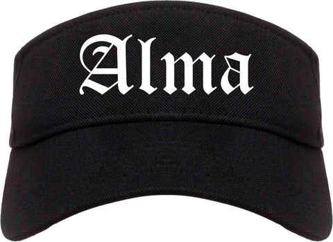 Alma Arkansas AR Old English Mens Visor Cap Hat Black
