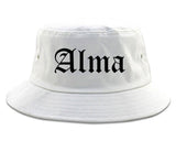 Alma Arkansas AR Old English Mens Bucket Hat White