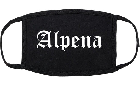 Alpena Michigan MI Old English Cotton Face Mask Black