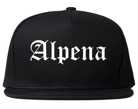 Alpena Michigan MI Old English Mens Snapback Hat Black