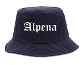 Alpena Michigan MI Old English Mens Bucket Hat Navy Blue