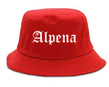 Alpena Michigan MI Old English Mens Bucket Hat Red