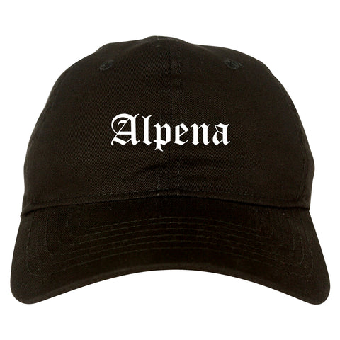 Alpena Michigan MI Old English Mens Dad Hat Baseball Cap Black