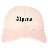 Alpena Michigan MI Old English Mens Dad Hat Baseball Cap Pink