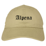 Alpena Michigan MI Old English Mens Dad Hat Baseball Cap Tan