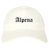 Alpena Michigan MI Old English Mens Dad Hat Baseball Cap White