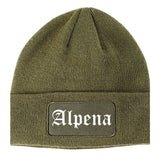 Alpena Michigan MI Old English Mens Knit Beanie Hat Cap Olive Green