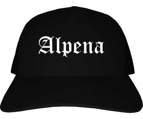 Alpena Michigan MI Old English Mens Trucker Hat Cap Black