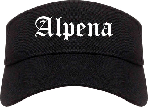 Alpena Michigan MI Old English Mens Visor Cap Hat Black