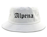 Alpena Michigan MI Old English Mens Bucket Hat White