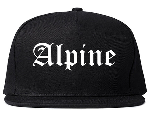 Alpine Texas TX Old English Mens Snapback Hat Black