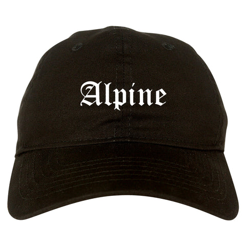 Alpine Texas TX Old English Mens Dad Hat Baseball Cap Black