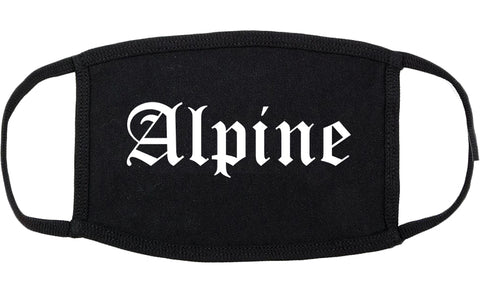 Alpine Utah UT Old English Cotton Face Mask Black