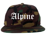 Alpine Utah UT Old English Mens Snapback Hat Army Camo