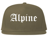 Alpine Utah UT Old English Mens Snapback Hat Grey