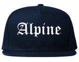 Alpine Utah UT Old English Mens Snapback Hat Navy Blue