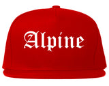 Alpine Utah UT Old English Mens Snapback Hat Red
