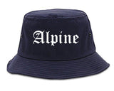 Alpine Utah UT Old English Mens Bucket Hat Navy Blue