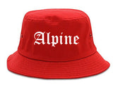 Alpine Utah UT Old English Mens Bucket Hat Red