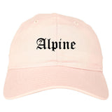 Alpine Utah UT Old English Mens Dad Hat Baseball Cap Pink