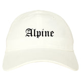 Alpine Utah UT Old English Mens Dad Hat Baseball Cap White
