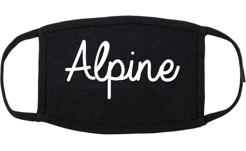 Alpine Utah UT Script Cotton Face Mask Black