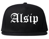 Alsip Illinois IL Old English Mens Snapback Hat Black