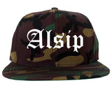 Alsip Illinois IL Old English Mens Snapback Hat Army Camo