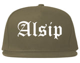 Alsip Illinois IL Old English Mens Snapback Hat Grey
